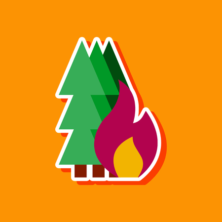 paper sticker on stylish background forest fire Stock Vector - 124818477