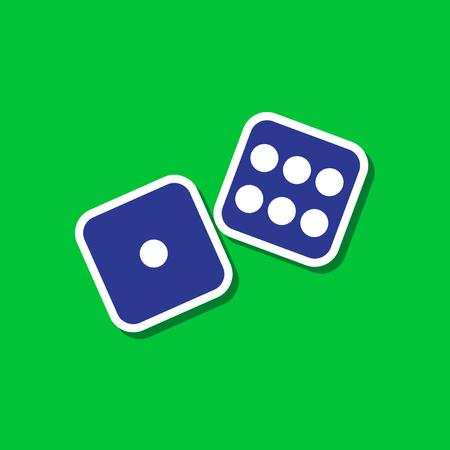 paper sticker on stylish background of dice lucky Illustration