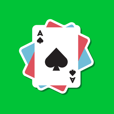 paper sticker on stylish background of poker playing cards  イラスト・ベクター素材