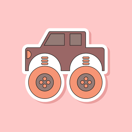paper sticker on stylish background of Kids toy car