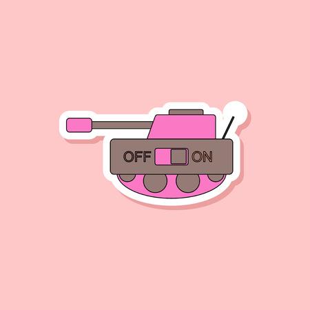 paper sticker on stylish background of Kids toy tank Çizim