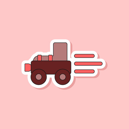 paper sticker on stylish background of Kids toy Tractor