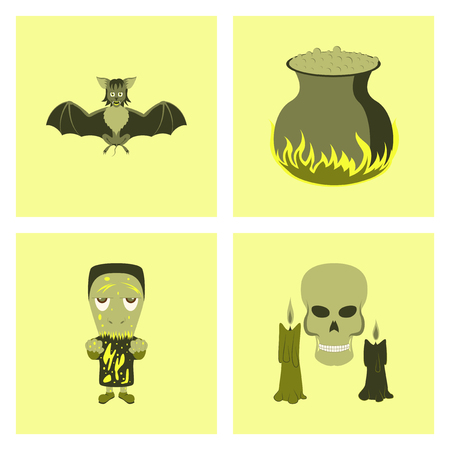 assembly of flat illustration cute bat potion cauldron candle skull zombie men