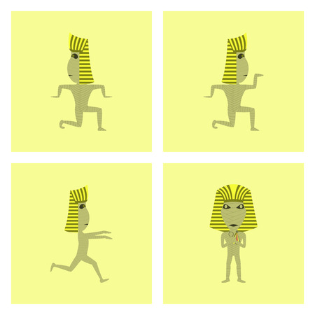 assembly of flat illustration mummy halloween monster
