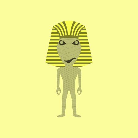 flat illustration on stylish background of mummy halloween monster Illustration