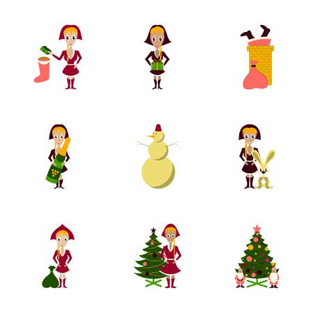 assembly of flat illustration Christmas girl snowman Tree gift box