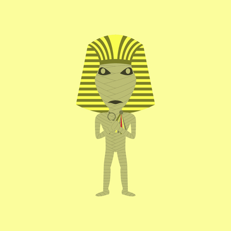 flat illustration on stylish background of mummy halloween monster Illustration