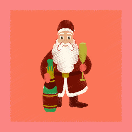 flat shading style icon of Santa Claus