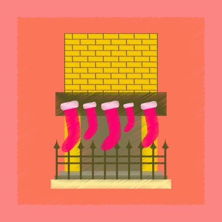 flat shading style icon of Fireplace Christmas Socks