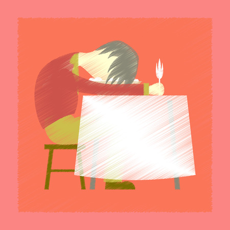 flat shading style icon of man sleeping at desk Illustration