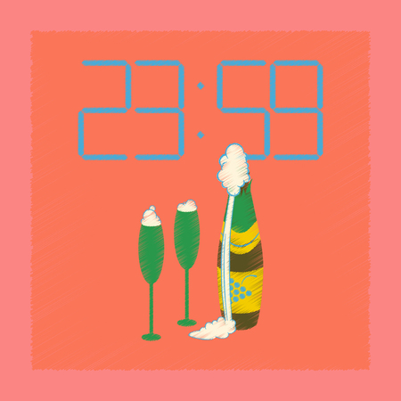 flat shading style icon of champagne christmas clock
