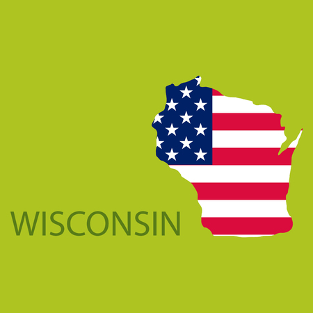 Wisconsin state of America with map. Flag print on map of USA for geographic themes. Map of Wisconsin state.