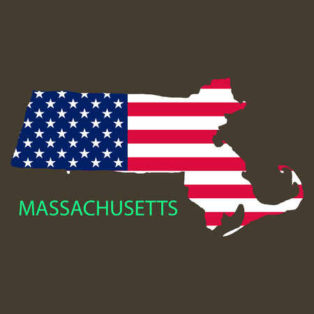 Massachusets state of America with map. Flag print on map of USA for geographic themes. Map of Massachusets state.