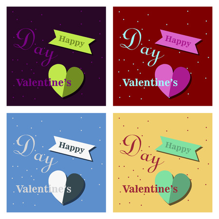 Set of Happy Valentines Day typography poster with handwritten calligraphy text, isolated on background. Vector Illustration Illustration