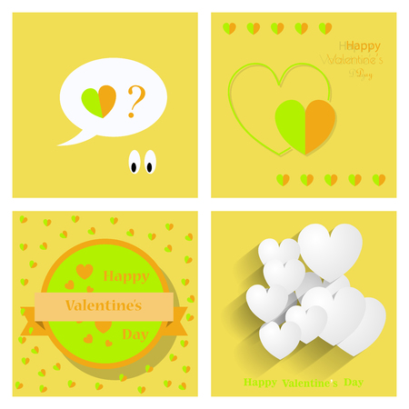 Set of Happy Valentines day greeting card, vector illustration. Beautiful love. Illustration