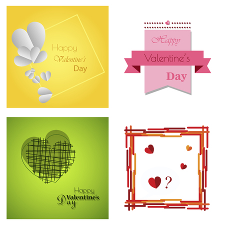 Set of Happy valentines day typography vector design with paper cut red heart shape hot air balloons flying in white background. Vector illustration. Illustration