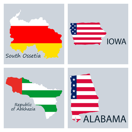 Poster map of regions in the world. Flag print map of USA for geographic themes. Hand-drawn map with states.