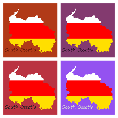 Map and National flag of South Ossetia,Map Of South Ossetia With Flag Isolated On Black Background,Vector Illustration Flag and Map of South Ossetia for continue. Illustration