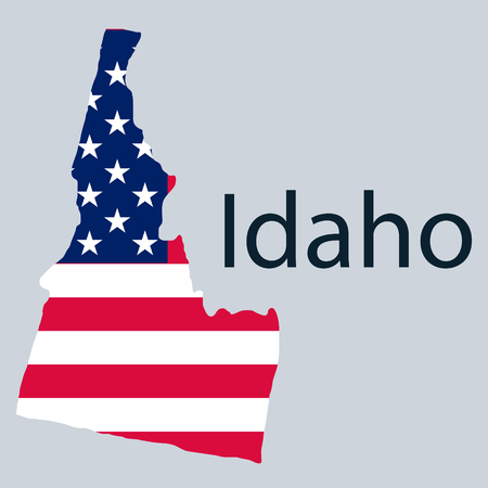 Idaho state of America with map. Flag print on map of USA for geographic themes. Map of Idaho state. 스톡 콘텐츠 - 120081674