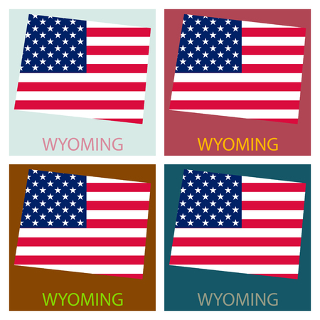 Wyoming state of America with map. Flag print on map of USA for geographic themes. Map of Wyoming state.  イラスト・ベクター素材