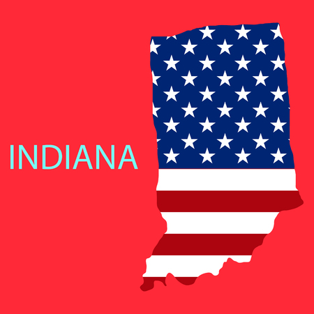 Indiana state of America with map. Flag print on map of USA for geographic themes. Map of West Indiana state. Illustration