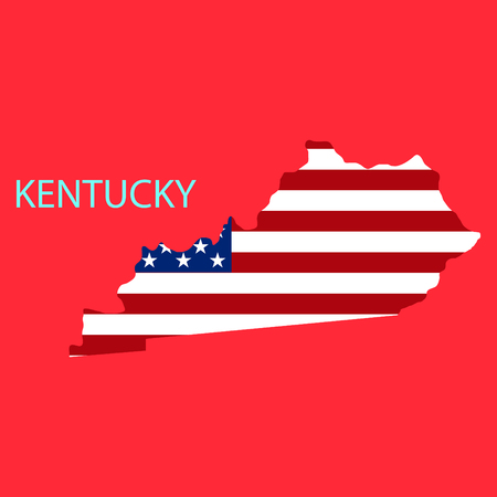 Kentucky state of America with map. Flag print on map of USA for geographic themes. Map of Kentucky state.