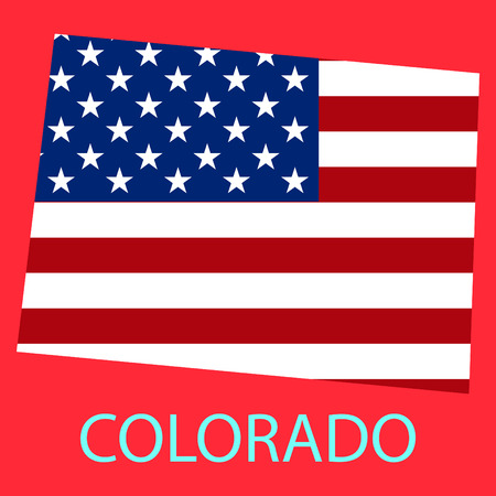 Colorado state of America with map. Flag print on map of USA for geographic themes. Map of Colorado state.