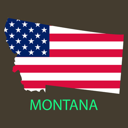 Montana state of America with map. Flag print on map of USA for geographic themes. Map of Montana state.