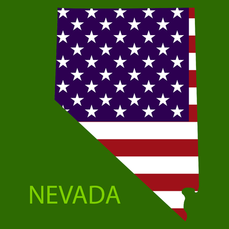 Nevada state of America with map. Flag print on map of USA for geographic themes. Map of Nevada state.