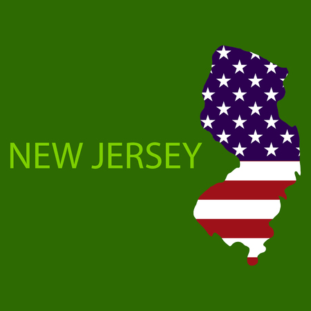 New Jersey state of America with map. Flag print on map of USA for geographic themes. Map of New Jersey state.