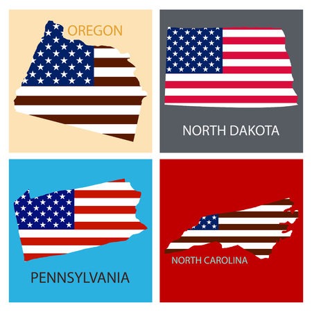 Poster map of United States of America with state names. Flag print map of USA for geographic themes. Hand-drawn map with states.