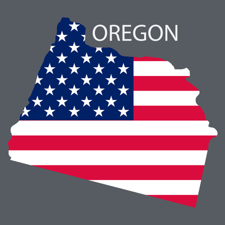 Oregon state of America with map. Flag print on map of USA for geographic themes. Map of Oregon state.