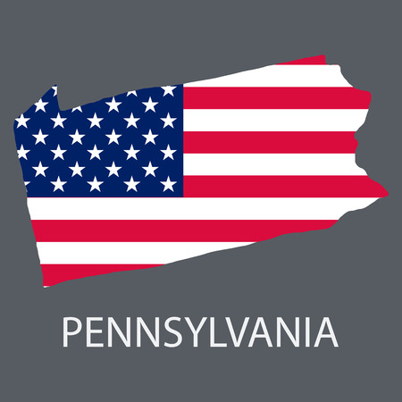 Pennsylvania state of America with map. Flag print on map of USA for geographic themes. Map of Pennsylvania state. Illustration