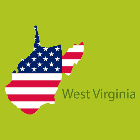 West Virginia state of America with map. Flag print on map of USA for geographic themes. Map of West Virginia state.