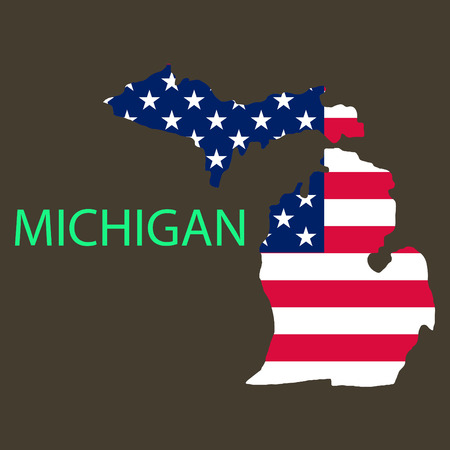 Michigan state of America with map. Flag print on map of USA for geographic themes. Map of Michigan state.
