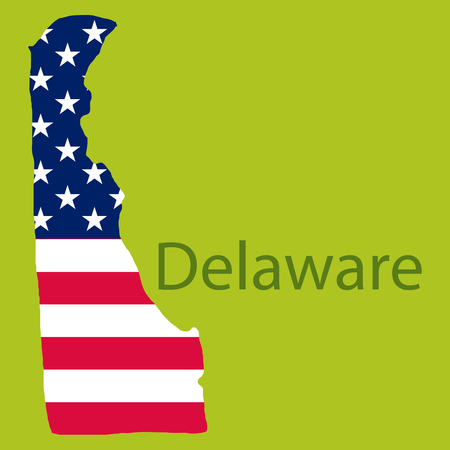 Delaware state of America with map. Flag print on map of USA for geographic themes. Map of Delaware state. Illustration