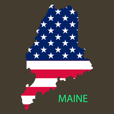 Maine state of America with map. Flag print on map of USA for geographic themes. Map of Maine state.  イラスト・ベクター素材