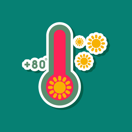paper sticker on stylish background thermometer hot weather