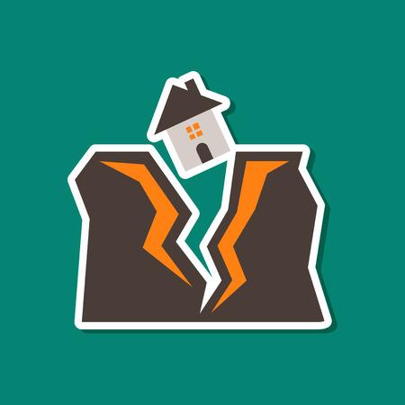 paper sticker on stylish background of house earthquake Illustration