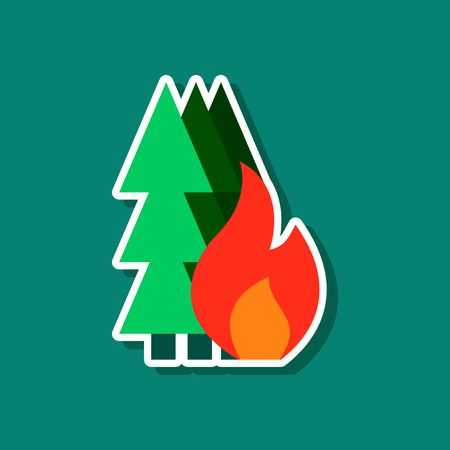 paper sticker on stylish background forest fire Illustration