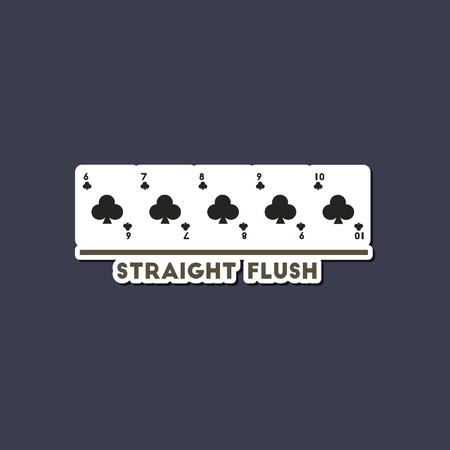 paper sticker on stylish background poker straight flush