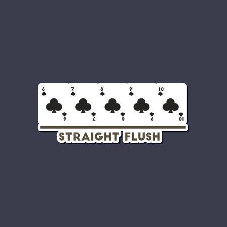 paper sticker on stylish background poker straight flush 版權商用圖片 - 120082206