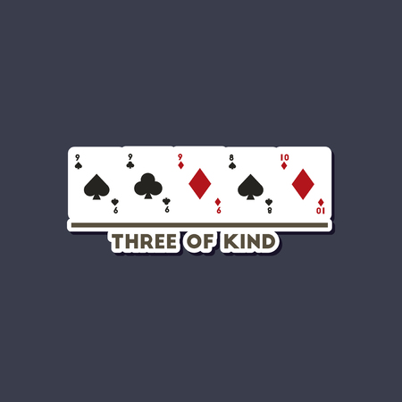 paper sticker on stylish background of poker three of a kind