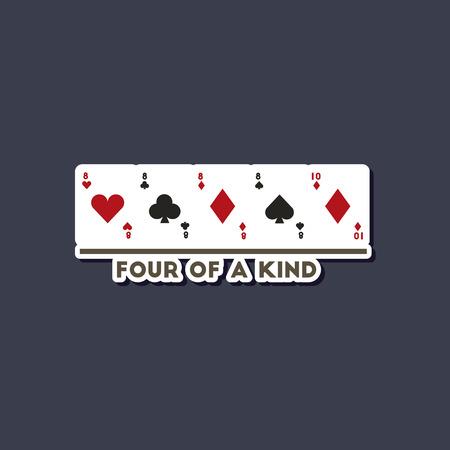 paper sticker on stylish background of poker four kind