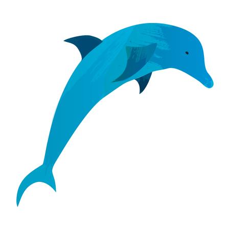 Dolphin in water splash. Watercolor vector element.