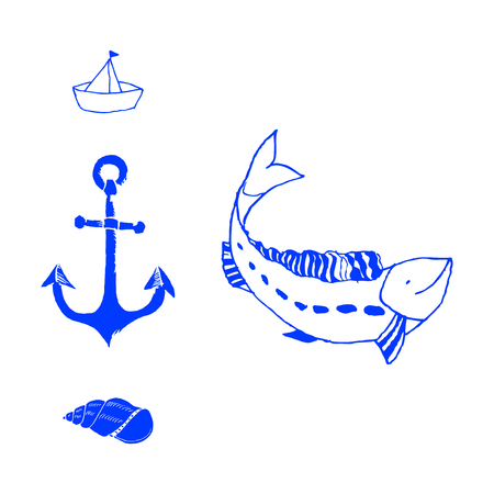 Set silhouette of group of sea fish. small fish. Icon with river taxers.