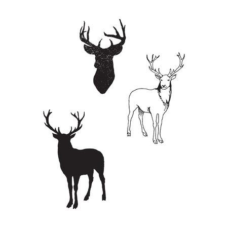 Colección de siluetas de animales salvajes - la familia de los ciervos Ilustración de vector