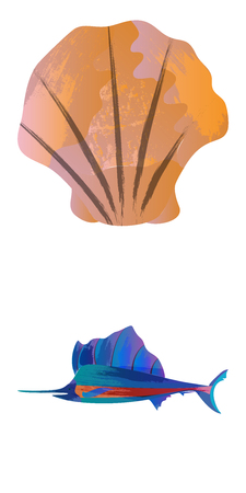 Marine set of Watercolor Vector Tropical Fish, Seaweed Coral Algae and Jellyfish Underwater Watercolor Vector illustration
