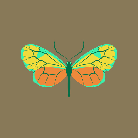 Colorful icon of butterfly isolated on brown Stock Illustratie