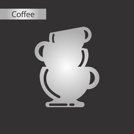 black and white style icon coffee three cups Illustration